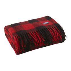 Fairbault Woolen Mill - Buffalo Check Wool Throw - Red/Black - Based on the timeless buffalo check design, this lumberjack plaid pattern would make our fellow Minnesotan, Paul Bunyan proud. The 2x2 twill construction creates a distinctive diagonal pattern that brings out the intricacies of the design. This is your blanket if you're seeking an authentic outdoor look. Permanently moth-proofed, 100% pure wool. Dry clean only. Made in America.