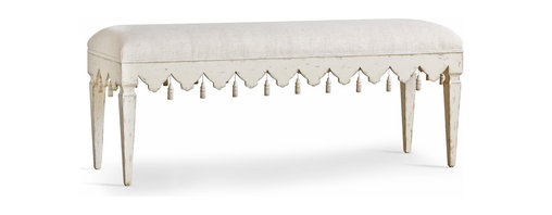 Eloquence - Verona French Country Style Scalloped Edge Tassel Wood Fog Linen Bench - A romantic, elegant bench lays the scene for casual comfort in an entryway or sitting room. Beautifully simple, this hand-crafted wooden bench is upholstered in light grey linen. The stone-colored, weathered patina adds a French Country finish. Twenty-two intricately detailed tassels decorate the perimeter of this brilliant bench.