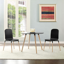 Stack Wood Dining Chairs and Table Set of 3 in Black (EEI-1374-BLK) - Acquaint yourself with an intelligent piece concealed behind sheer simplicity. Stack exhibits fluid lines and an organic form in a seamless transition from the abstract to the definite. Made from a painted durable steel top and solid beech wood legs, Stack coalesces both form and purpose in a harmoniously designed piece that matches well in any uncomplicated decor. Set Includes: One - Stack Circular Side Dining Table Two - Stack Wood Dining Chairs