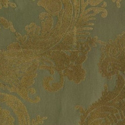 Gold & Gold Matte Heirloom Damask Velvet Flocked Wallcovering