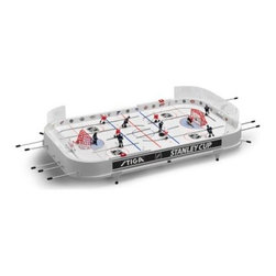 Stiga 37 in. NHL Stanley Cup Rod Hockey Table Top Game - When the Toronto Maple Leafs and Detroit Red Wings hit the ice, you can sway the game in your team's favor - at least, you can if the teams are skidding across the Stiga 37 in. NHL Stanley Cup Rod Hockey Table Top Game. This large home table game pits two NHL favorites against each other with right- and left-hand controls, realistic hand-painted designs, and cool in-play features such as puck ejection and protective plexiglass.This rink-styled table game is crafted with durable polystyrene. The three-dimensional polystyrene players - two with right-hand controls and three with left-hand controls on each side - are interchangeable and hand-painted for maximum authenticity. Marksmen, a center forward, and a left forward in the Gretzky position are all represented. Puck ejectors make gameplay easy, and plexiglass shields behind each red-netted goal protect players from hard slaps. A manual goal counter keeps players honest, and the included legs elevate the entire game above all other game room tables.About Stiga GamesStiga Games has been bringing table game enthusiasts the best in the business since 1957. More than 5 million games have been sold since the first Stiga table hockey game hit the market, including table tennis, snow game, badminton, and floor ball products. Today, Stiga Games sells to more than 30 countries worldwide, keeping the tradition of home-based, non-computer games alive and well. Stiga table hockey games are the only officially licensed table hockey games of the NHL, and every part of every table is replaceable, meaning these games can be enjoyed for years to come.