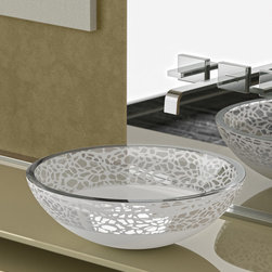 """MaestroBath - Flare Italian Glass Vessel Sink - This crystal wash basin is perfected by the """"Florence Glass Atelier"""" project which allows for colors and textures to be embedded within the crystal, making it sturdy, hygienic and of course, fashionably beautiful. Flare is in the shape of a circular bowl and comes in mat, light and dark shades with its unique pattern concentrated around the rim. It will look brilliant on top of your bathroom counter. Here is more information related to MaestroBath: Services Provided: Luxury Handmade Italian Vessel Sinks, Modern and Contemporary Kitchen and Bath Fixtures .. Areas Served: All United States and International Countries… Business Description: Maestrobath delivers contemporary and modern handmade Italian bathroom sinks and designer faucets to clients with taste of luxury. It carries a wide selection of beautiful and unique Travertine, Crystal and Glass vessel sinks in variety of colors and styles. Maestrobath services homeowners and designers Globally. Furthermore, it has dealer partners across United States and international countries."""