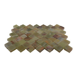 Green Polished Diamond Pattern Mesh-Mounted Onyx Tiles - 1 in. x 1 in. Green Mesh-Mounted Diamond Pattern Onyx Mosaic Tile is a great way to enhance your decor with a traditional aesthetic touch. This polished mosaic tile is constructed from durable, impervious onyx material, comes in a smooth, unglazed finish and is suitable for installation on floors, walls and countertops in commercial and residential spaces such as bathrooms and kitchens.