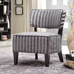 Coaster - Grey Transitional Accent Chair - These luxuriously comfortable accent chairs will add as elegant touch to any living room or bedroom. Available in four patterns: grey stripes, beige stripes, burgundy/gold stripes and a dark sunburst.