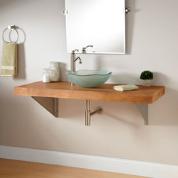 "49"" Natural Edge Teak Wall-Mount Vessel Sink Vanity - Triangular Brackets - Pairing a wood surface with stainless steel, the 49"" Natural Edge Teak Wall-Mount Vanity nicely shows off a vessel sink."