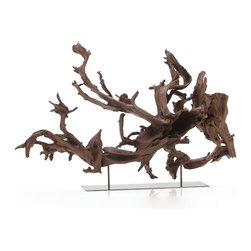 Kazu Large Dragon Tree Root/Iron Sculpture - The dark natural colors and rippling, twisted forms of a Kazu Dragon Tree Root give each unique piece a visual authority and shadowy drama that is breathtaking when made a focal point in your home design.  In either traditional rooms or more updated ones, the convoluted branches of the wooden found art piece look like a precious imported treasure, displayed on the slender supports of a sleek iron stand for maximum visual power.