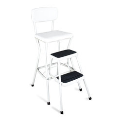 Cosco Office - Retro Step Stool & Chair in White w Upholster - Heavy-duty 1 in. diameter steel frame. Lower steps swing out for easy access. 24 in. High seat is ideal for most counters. Wipe-clean vinyl upholstered cushioned seat and back. Opti-Bond powder coat finish. Molded, slip-resistant safety treads. Weight capacity 200 lbs.. Easy to assemble. 10-Year limited warranty. 16.93 in. W x 24.02 in. D x 34.76 in. H( 17.18 lbs.)Whether you need extra seating or to reach that cabinet, this classic combo is all you need. Even grandma would approve of the timeless design that has offered over 70 years of comfort, convenience and value.