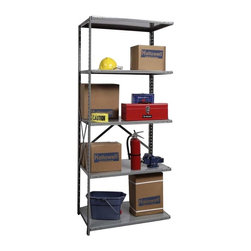 Hallowell - 87 in. High Heavy-Duty Open Utility Shelving in Gray - Adder (48 in. W x 12 in. - Depth: 48 in. W x 12 in. D x 87 in. H. Hi-Tech utility units with standard depth options are designed for expansion. Our heavy-duty rated adder attaches to center starter frames and features adjustable shelving with cross bracing. Gray powder coating is a classic choice for storage, work and hobby areas. Great addition to Hi-Tech  heavy-duty open type shelving starter unit. Open style with sway braces. 5 Adjustable shelves. Fabricated from cold rolled steel. Welds are spaced 3 in. on center to provide maximum strength. Sides are triple flanged to form a channel. All 4 corners are lapped and resistance welded to provide a rigid corner and add extra strength to the shelf. Tubular front edge is designed to protect against impact loads. 48 in. W x 12 in. D x 87 in. H. 48 in. W x 18 in. D x 87 in. H. 48 in. W x 24 in. D x 87 in. H. Assembly required. 1-Year warranty