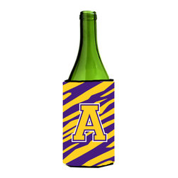 Caroline's Treasures - Monogram - Tiger Stripe - Purple Gold Initial A Wine Bottle Koozie Hugger - Monogram - Tiger Stripe - Purple Gold Letter A Wine Bottle Koozie Hugger CJ1022-ALITERK Fits 750 ml. wine or other beverage bottles. Fits 24 oz. cans or pint bottles. Great collapsible koozie for large cans of beer, Energy Drinks or large Iced Tea beverages. Great to keep track of your beverage and add a bit of flair to a gathering. Wash the hugger in your washing machine. Design will not come off.