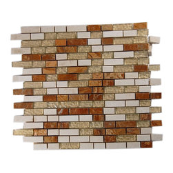"""GlassTileStore - Alloy Golden Gate Glass & Marble Mosaic Tiles - ALLOY GOLDEN GATE 1/2 X Random GLASS TILES  The blend of stone and glass in this handsome mosaic tile is reminiscent of a brick facade, albeit a very chic and sophisticated one. You'll love the subtle injection of color into your kitchen or bathroom with its sleek mix of red and cream marble. Backed with mesh to make installation simple as can be, it also allows each tile to be rearranged for even more design options. The color is painted on the back of the tile so it will not scratch or chip the color off.       Size: 1/2"""" x Random   Color: Cream, Red, Beige   Material: Glass and Marble   Finish: Polish and Wavy   Sold by the Sheet - each sheet measures 12"""" x 13"""" (1.08 sq. ft.)   Thickness: 8mm    - Glass Tile -"""