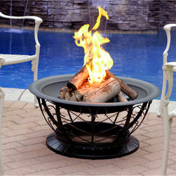 Jeco - 30-inch Red Bronze Brush Scroll Fire Pit - This lovely fire pit comes with a powder coating finished with a red bronze brushing to achieve an antique style. The included poker and durable steel construction ensure that your friends and family can have long-lasting fun outdoors.