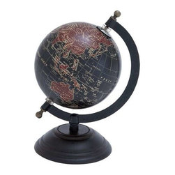 """Benzara - Elegant Metal Wood Globe with Contemporary Elegance - Elegant Metal Wood Globe with Contemporary Elegance. This metal wood Globe is a perfect match for different decor styles. It comes with following dimensions: 5""""W x 5""""D x 9""""H."""