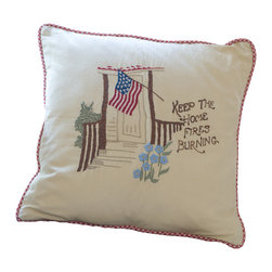 Taylor Linens - Keep the Home Fires Burning Porch Pillow - This timeless sentiment, immortalized in song a century ago, is commemorated in a charming, vintage-style pillow. Hand-embroidered on machine-washable cotton and filled with goose feather and down, this endearing keepsake is perfect for the cabin or porch — or anyplace where hearts and minds remember those who are far from home.