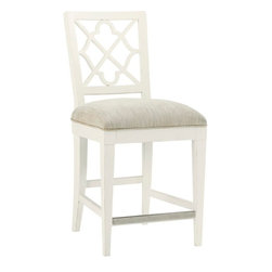 Lexington - Tommy Bahama Home Ivory Key Newstead Counter Stool - The decorative back splat features the quatrefoil pattern repeated throughout this collection. The standard fabric is a linen weave construction in a light parchment coloration. Other fabrics may be applied to the custom version, see store for details.