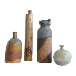 Collection of Studio Pottery - Set of 4 - Dimensions 3.0ʺW × 3.0ʺD × 8.5ʺH