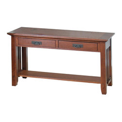 Jofran - Viejo Mission Style Sofa Table in Brown & Oak Finishes w 2 Drawers - Pierced hardware. Walnut bowtie inlays. Two drawers. One shelf. Solid Asian hardwood with oak and walnut veneer. Some assembly required. 48 in. W x 18 in. D x 28 in. H (58 lbs.).  Assembly instructions