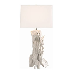 Arteriors - Bodega Lamp - Collected driftwood is hand assembled and then painted white to create this unique table lamp. The square linen shade also has a top diffuser. 3-way switch. Takes one 150 watt 3-way bulb.