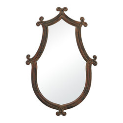 Sterling Industries - Wood Framed Mirror - The Redwood Wood Framed Mirror is a beautiful example of a great design that has an elegant shaped frame.  The frame is made of a wood and has clover leafing to bring to soften the corners of the frame.  A distressed redwood finish is applied to the frame as well.