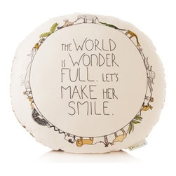 Wonder Full World Pillow - This is a great floor pillow for a nursery. I love the messaging, too.