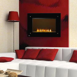 Napoleon - Napoleon 39-Inch Black Wall Mount with Electric Fireplace Heater - EF39HD - The Napoleon 39-Inch Black Wall Mounted Electric Fireplace Heater was designed to be hung at eye level as functional wall art with supplemental heat. lt operates from any standard wall plug, and has a very contemporary glass front that gives it a modern, yet inviting design. It is considered to be 100% energy efficient because there is no venting or lost heat for any green home remodel project.