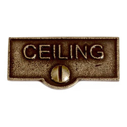 Renovators Supply - Switch Plate Tags Antique Brass CEILING Tag 1 11/16'' W - Forget which switch is for what? Try our ID switchplate tags and identify your switches. Our switchplate ID tags are made from SOLID CAST BRASS and come with a TARNISH-RESISTANT ANTIQUE BRASS finish. EASY installation and fits standard switchplates. Coordinating screw included. Measures 13/16 in. H x 1 11/16 in. W.