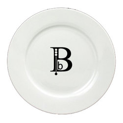 Caroline's Treasures - Letter B Initial Monogram Modern Ceramic White Dinner Plate CJ1056-B-DPW-11 - Letter B Initial Monogram Modern Ceramic White Dinner Plate CJ1056-B-DPW-11 Heavy Round Ceramic Plate White with Artwork . 11 inches in diameter. LEAD FREE, dishwasher and microwave safe. The plate has been refired over 1600 degrees and the artwork will not fade or crack.