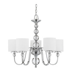Downtown 5 Light Chandelier - Cool, sleek sophistication is written all over this design. Gleaming glass ball accents complement the opal etched glass drum shades and shiny chrome finish, bringing a soft modern sensibility to your home.