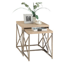 Monarch Specialties - Monarch Specialties 3205 Round 2-Piece Nesting Table Set in Natural - With its natural reclaimed wood-look tops, this 2 piece nesting table set gives an exceptional look to any room. Its original criss-cross chromed metal base provides sturdy support as well as a contemporary look. Use this multi- functional set as end tables, lamp tables, decorative display tables, or simply as accent pieces..