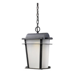 """Elk Lighting - Elk Lighting 43007/1 16"""" Height Traditional / Classic Outdoor 1 Light LED Lanter - 16"""" Height Traditional / Classic Outdoor 1 Light LED Lantern Pendant with a Rectangular Shade from the Hampton Ridge CollectionOffering transformer free LED technology, each fixture is constructed of cast aluminum finished in Weathered Charcoal. An arching peak and sweeping lines are softened by curved frosted glass.Features:"""