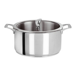 Cristel - Cristel Casteline Fix Multiply 5-Ply Stainless Stew Pan With Glass Lid, 4.5 qt. - The base is made out of an alloy of stainless steel and aluminum. The heat is simultaneously spread over the whole surface of the base and sides. For gentle, economic cooking with no risk of sticking and protecting all the nutritional qualities of food. Multicooking: suitable for all cooking cooktops; can also be placed on the oven (with or without the lid). 18/10 polished finish. Water or fat are not needed for cooking. Keeps temperature during table service. Wide and efficient Pouring edge. Dishwasher safe.. Made in France.