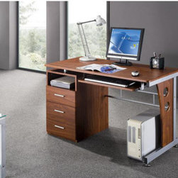 """Techni Mobili - Computer Desk with Side Cabinet - This desk with storage is made of MDF panel and PVC laminate and steel frame. Not only is this workstation spacious it also features three storage drawers, a pullout keyboard with safety stop, and a scanner shelf. Modern sleek design compliments any room even the tightest spots. Features: -Large work space with pullout keyboard. -Three large storage drawers. -Made of MDF panels with PVC laminate surface. -Assembly Required. -Desk Dimensions: 47.25"""" W x 22.75""""D x 30""""H."""
