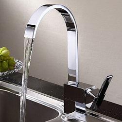 Kitchen Sink Faucets - Contemporary Chrome Finish Brass Kitchen Faucet--FaucetSuperDeal.com