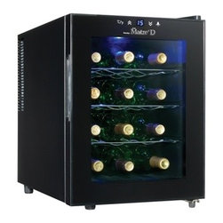 DANBY PRODUCTS - 12 Bottle Wine Chiller - 12 bottle capacity countertop wine cellar. Sleek midnight black finish with clear glass door. Features energy efficient semi-conductor cooling technology. Eco-friendly design does not use refrigerants. Silent operation and no vibration to disturb the wine. 3 contoured chrome storage shelves cradle wine bottles. Intuitive push button thermostat can be set anywhere from 10 degrees C - 18 degrees C (50 degrees F - 64.4 degrees F). Blue LED interior light can be turned on or off as desired.