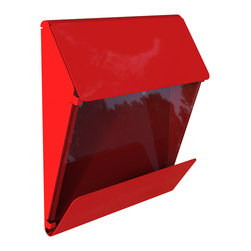 Decorpro - X Press Mailbox, Red Finish - Decorpro has combined steel and glass into a beautiful functional X Press mailbox. Designed for ease of use for you and the postman. This mailbox has a clear window to see if mail has arrived. As well, it has an extra large overhang to keep the daily newspaper dry. Made of steel and 8 mm thick piece of glass. This mailbox will be a great addition to your home for many years to come.