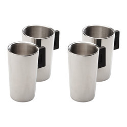 "Berghoff - Berghoff  Coffee Mug Cubo 1.4 cup Set of 4 - Durable 18/10 stainless steel coffee mug with a stay cool black bakelit handle. Double walled mug to keep your beverage hot. Measurements: 3 1/4"" x 4"", holds 10.8 oz"