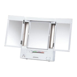 Jerdon JGL9W Tabletop Tri-Fold Two-Sided Lighted Makeup Mirror with 5x Mag - The Jerdon JGL9W Tabletop Tri-Fold Two-Sided Lighted Makeup Mirror is a bathroom and makeup mirror with cool to the touch fluorescent lighting and adjustable side mirrors that fit nicely on any tabletop. Adjustable magnification, versatile illumination and multiple viewing angles make this tri-fold mirror perfect for your beauty needs. Designed with a sharp look and attractive white finish to match any home decor, the JGL9W stands up by itself on your countertop, vanity or dresser with a folding back stand. The glare free fluorescent lighting has (4) adjustable settings for color correct lighting selections ideal for daytime, evening, home and office environments. The JGL9W's center mirror swivels from 1x to 5x magnification so every detail of your hair and makeup are in place, while the (2) side mirrors are adjustable for a panoramic view. This tri-fold mirror also provides a convenient 120-volt electrical outlet built-in for curling irons, blow dryers and other appliances. This mirror is 12.75-inches (L) by 3.75-inches (W) by 10.75-inches (H) in size and folds flat for travel or easy storage. The Jerdon JGL9W Tabletop Tri-Fold Two-Sided Lighted Makeup Mirror comes with a 1-year limited warranty that protects against any defects due to faulty material or workmanship. The Jerdon Style company has earned a reputation for excellence in the beauty industry with its broad range of quality cosmetic mirrors (including vanity, lighted and wall mount mirrors), hair dryers and other styling appliances. Since 1977, the Jerdon brand has been a leading provider to the finest homes, hotels, resorts, cruise ships and spas worldwide. The company continues to build its position in the market by both improving its existing line with the latest technology, developing new products and expanding its offerings to meet the growing needs of its customers.