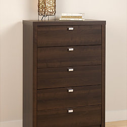 Prepac - Valhalla Designer Series Espresso 5-Drawer Chest - Sleek and sophisticated, this bold 5-drawer chest features a durable thick top and sides. With simple lines and brushed drawer pulls, this chest offers modern styling.