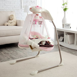 Fisher-Price - Fisher-Price Butterfly Cradle Baby Swing Multicolor - T4522 - Shop for Baby Swings from Hayneedle.com! Give your little princess the throne she deserves with the Fisher-Price Butterfly Cradle Swing. Decked out in pink with flowers and butterfly details this precious swing will soothe and delight Baby. While comfortably cradled in the cozy papasan seat with head support cushion your baby can swing either side-to-side or front-to-back depending on her changing preferences. Your wide awake infant will enjoy watching the spinning mobile playing with the bead bar on the removable tray and listening to the cheerful songs and nature sounds. When it's naptime Mom can switch on the butterfly light show that projects onto the sheer canopy and play another set of calming songs or sounds. Additional Features for Baby: Watching butterfly light show and motion of moving flowers on the mobile fosters visual tracking skills Canopy surrounds baby and sways along with the swing Comfy cradle seat with head support provides baby with a sense of security Daytime and nighttime songs and sound effects with volume control strengthen baby's auditory skills and provide variety Alternating swinging motions calm your baby Additional Features for Mom and Dad: Sturdy steel frame folds for storage and portability Removable papasan seat pad is machine-washable 6 speeds and 2-position reclining seat for comfort as baby develops Customize baby's experience by choosing lights on or off music only swinging only mobile only or any combination Quick-release power cord saves on batteries; requires 4 D batteries (not included) Weight capacity: 25 lbs. Developmental Guidelines: Use cradle swing from birth until baby becomes active and can climb out of the seat. Recommended ages: Birth-12 months. About Fisher-PriceAs the most trusted name in quality toys Fisher-Price has been helping to make childhood special for generations of kids. While they're still loved for their classics their employees' talent energy and ideas have helped them keep pace with the interests and needs of today's families. Now they add innovative learning toys toys based on popular preschool characters award-winning baby gear and numerous licensed children's products to the list of Fisher-Price favorites.