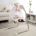 Fisher-Price - Fisher-Price Butterfly Cradle Baby Swing Multicolor - T4522 - Shop for Baby Swings from Hayneedle.com! Give your little princess the throne she deserves with the Fisher-Price Butterfly Cradle Swing. Decked out in pink with flowers and butterfly details this precious swing will soothe and delight Baby. While comfortably cradled in the cozy papasan seat with head support cushion your baby can swing either side-to-side or front-to-back depending on her changing preferences. Your wide awake infant will enjoy watching the spinning mobile playing with the bead bar on the removable tray and listening to the cheerful songs and nature sounds. When it's naptime Mom can switch on the butterfly light show that projects onto the sheer canopy and play another set of calming songs or sounds. Additional Features for Baby: Watching butterfly light show and motion of moving flowers on the mobile fosters visual tracking skills Canopy surrounds baby and sways along with the swing Comfy cradle seat with head support provides baby with a sense of security Daytime and nighttime songs and sound effects with volume control strengthen baby's auditory skills and provide variety Alternating swinging motions calm your baby Additional Features for Mom and Dad: Sturdy steel frame folds for storage and portability Removable papasan seat pad is machine-washable 6 speeds and 2-position reclining seat for comfort as baby develops Customize baby's experience by choosing lights on or off music only swinging only mobile only or any combination Quick-release power cord saves on batteries; requires 4 D batteries (not included) Weight capacity: 25 lbs. Developmental Guidelines: Use cradle swing from birth until baby becomes active and can climb out of the seat. Recommended ages: Birth-12 months. About Fisher-PriceAs the most trusted name in quality toys Fisher-Price has been helping to make childhood special for generations of kids. While they're still loved for their classics their employee