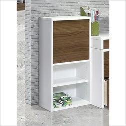 "Nexera Liber-T 38"" 1 Door Bookcase in White and Walnut - Features:"