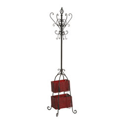 Holly & Martin - Graham Hall Tree with Rattan Storage, Black - Proof that organization doesn't have to be boring, this stylish black coat rack and its graceful scroll detail is sure to be a welcome addition to your home or office. With plenty of hooks for hats, coats, jackets or scarves, the baskets add additional storage space for umbrellas, small totes or mittens. The small basket measures 11 inches by 6 inches by 7 inches tall and the large basket measures 13 inches by 7.5 inches by 7.5 inches tall.