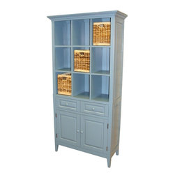 EuroLux Home - New China Cabinet Blue Painted Hardwood - Product Details