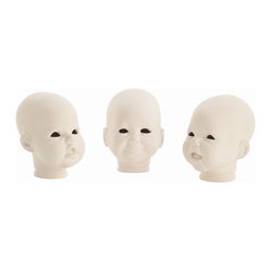 Arteriors - Snoki Doll Heads, Set of 3 - Have some fun with this trio of doll heads that be placed in a bookcase or arranged on a console table. Kind of spooky, a little startling, but reproduced exactly as they were designed.
