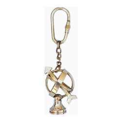 "Handcrafted Model Ships - Solid Brass Armillary Key Chain 5"" - Brass Key Chain - This nautical-themed brass armillary key chain 5"" is a small replica made from solid brass and includes a brass key fob. This key chain is as beautiful as it is durable and functional. A knurled knob allows you to easily and securely add or remove keys from the ring. These wonderful key chains make ideal gifts for friends, family, employees, clients, co-workers, and especially yourself."