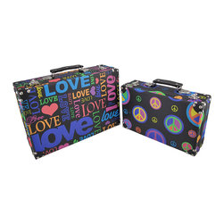 Zeckos - Set of 2 Peace and Love Hippie Themed Rectangular Boxes - These boxes provide a little extra storage space and add a fun accent to your home. They are perfect for storing small keepsakes, craft and hobby supplies, and collections of small items in an attractive way, so you don't have to hide the boxes in a closet. The boxes are made of wood and covered with a canvas material that features colorful peace and love graphics. The lids are hinged and have clasps to secure them. The largest box measures 14 inches long, 4 1/2 inches wide, 9 1/2 inches high, the smaller box measures 11 1/2 inches long, 3 1/2 inches wide, 7 inches high. They nest for storage purposes, and look great stacked in the corner of a room or on a table or shelf.