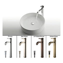 Kraus - Kraus White Round Ceramic Sink and Ramus Faucet Satin Nickel - *Add a touch of elegance to your bathroom with a ceramic sink combo from Kraus