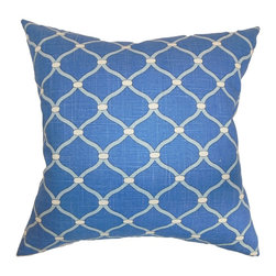 """The Pillow Collection - Hamar Geometric Pillow Delft 18"""" x 18"""" - Turn your room from bland to bold with this interesting throw pillow. This square pillow features a geometric pattern set against a bright blue background. Incorporate other patterns like toiles, florals, ikats and stripes with this accent pillow. This 18"""" pillow is ideal for casual and formal settings. Made from 100% soft and plush cotton fabric. Hidden zipper closure for easy cover removal.  Knife edge finish on all four sides.  Reversible pillow with the same fabric on the back side.  Spot cleaning suggested."""