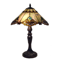 Warehouse of Tiffany - Tiffany-style Warehouse of Tiffany Courtesan Table Lamp - Bring old-world warmth and charm into your living space with this 22-inch Tiffany table lamp by Warehouse of Tiffany. Two lights shining through the shade's 342 pieces of cut, stained glass give this Courtesan lamp a jewel-like glow.