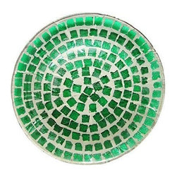 Pre-owned Bottle Glass Mosaic Platter - Hand-crafted mosaic bottle glass plate turns bright green when held to light. Top is glazed with clear glass with plate bottom showing artisan mosaic work. Vintage, circa 1970s. This platter is in very good condition, with just one small chip to composition on underside.    Care: hand-wash; with dish washing soap & towel dry