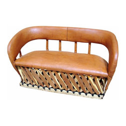 Cancun Rustic Equipale Sofa - Traditional Mexican hand crafted top quality Equipale, or leather, padded couch is great for indoors/outdoors. Traditional Mexican design looks great in the backyard too! Don't forget to add an Equipale Love seat and chairs to your collection. Dimensions: 55'' l x 33'' h x 23'' w.